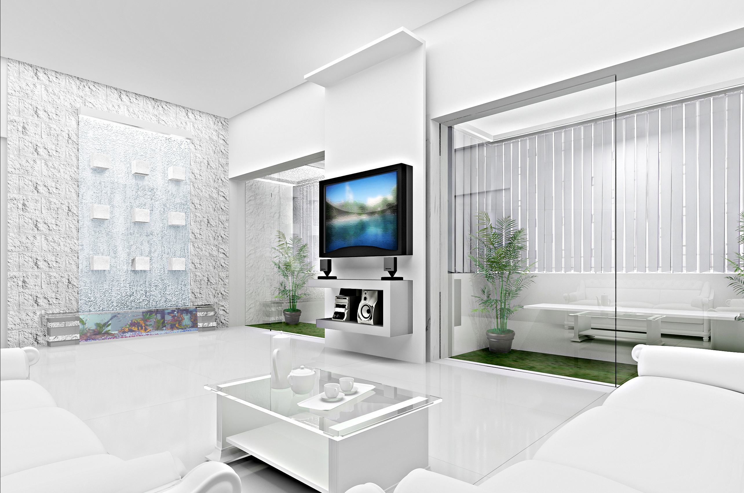 Conceptual 3D visualization for a living room. The concept is totally white and glass and steel.
