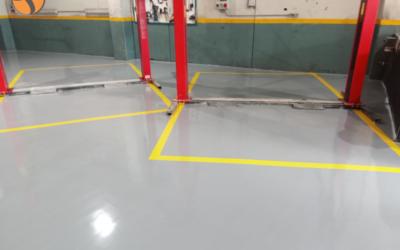 Renovación del suelo de un taller de automóviles con PROTECFORMA E2N2